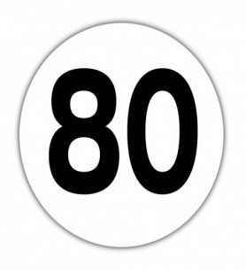 Disque limitation de vitesse 80 km/h PVC
