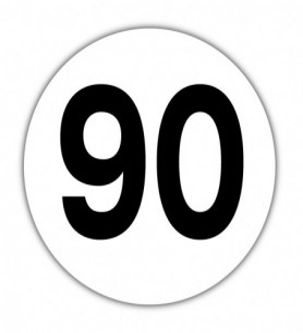 Disque limitation de vitesse 90 km/h PVC