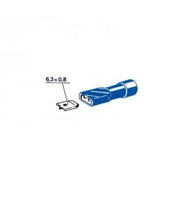 Cosses plates femelles bleus 6,35 mm - sachet de 100
